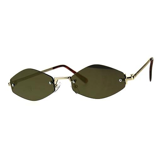 67c9991dd22fd Amazon.com  Mens Diamond Hippie Pimp Rimless Metal Color Mirror Lens  Sunglasses All Gold  Clothing