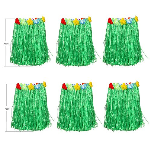 Newcreativetop Kid's Flowered Green Luau Hula Skirts Pack of -