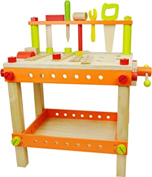 jumini Kids Wooden Workbench Workshop with Tools and Accessories