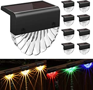 Solar Deck Lights Outdoor, 8 Pack Solar Step Light Waterproof Solar Fence Lights for Patio Stairs Post Pathway Porch Driveway Yard Garden Decor,CIYOYO Warm White/LED Color Changing Lighting