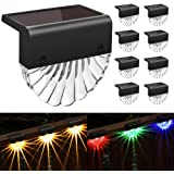 Solar Deck Lights Outdoor, 8 Pack Solar Step Light Waterproof Solar Fence Lights for Patio Stairs Post Pathway Porch…