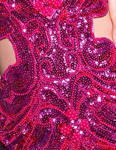 En Mujeres Correa Espalda V Vestido Sin Sin Rose Lentejuelas Escote Mangas Baile 1nzwgq