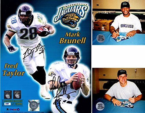 Fred Taylor and Mark Brunell Signed - Autographed Jacksonville Jaguars JAGS 8x10 inch Photo - Limited 100/500 - Guaranteed to pass - JSA Certified