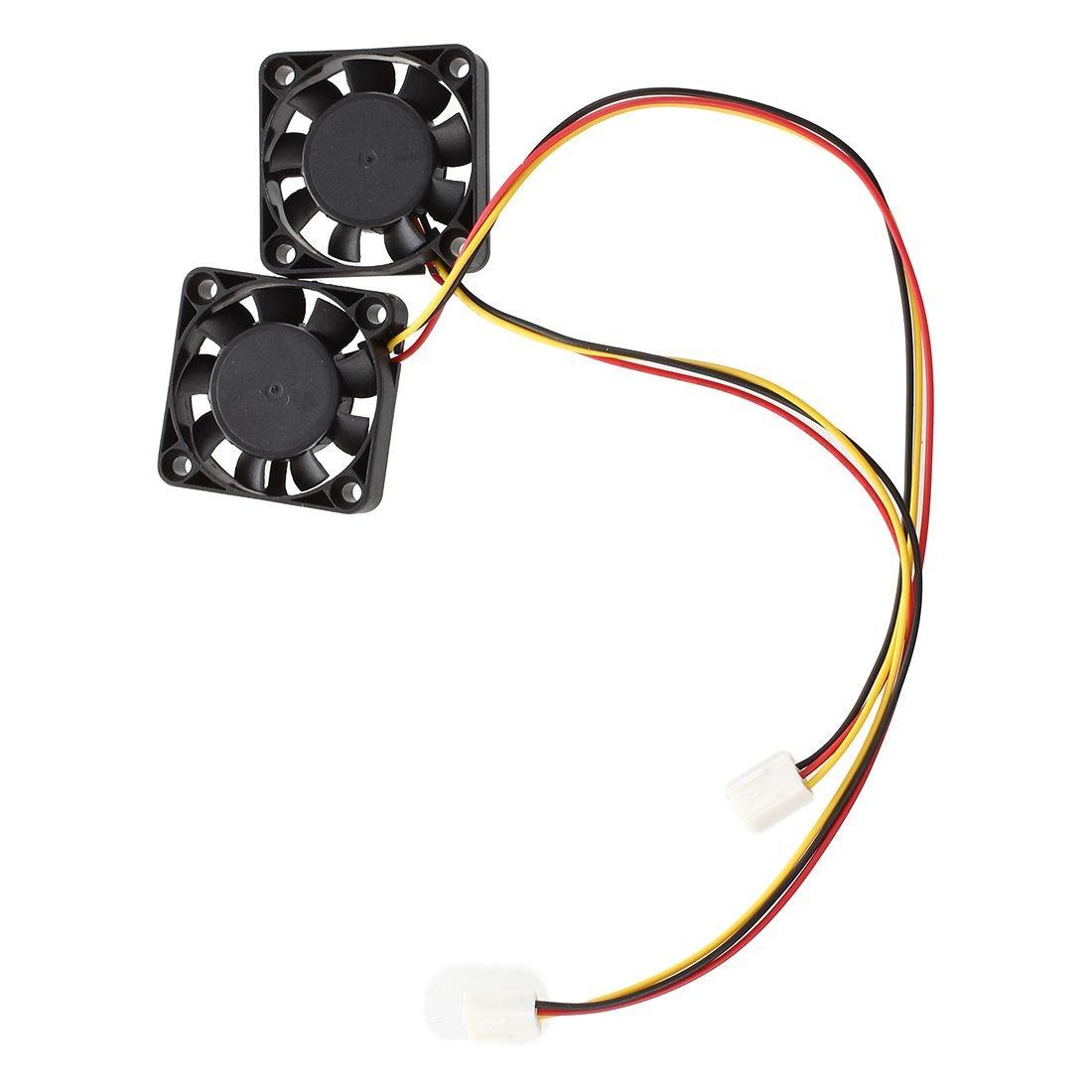 TOOGOO 2 pezzi 3 Pin nero 40 mm Piazza PC Computer ventola di raffreddamento DC 12V R