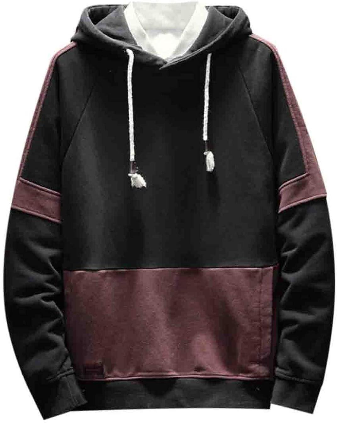 Hilization Men Casual Raglan Sleeve Hooded Kangaroo Pocket Thicken Patchwork Hoodie Sweatshirt Pullover