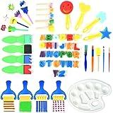 53 Pezzi Pennelli Spugna per Pittura Set Per Bambini Strumenti per L'apprendimento Precoce 52 Pennelli per Pennelli PCS + Set Pennelli per Pittura per Arti Decorative Fai Da Te, Colori Assortiti e Forme (53PCS)