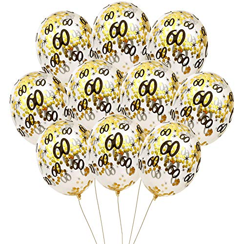 MeySimon 60th Birthday Decorations 15pcs Gold Confetti Balloons Printed 60 Latex Balloon for Sixty Year Old Happy Birthday Party Supplies (60th Confetti)]()