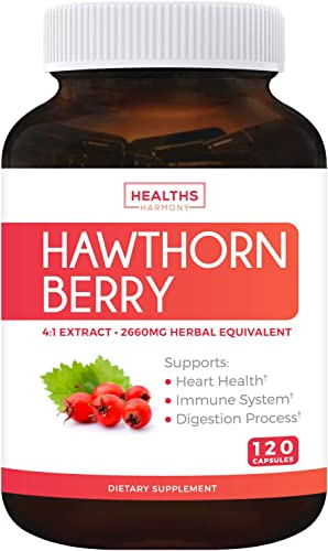Hawthorn Berry 4 1 Extract 120 Capsules Supports Healthy Blood Pressure, Circulation, Heart Health Immune System – Powerful Antioxidant Hawthorne Supplement