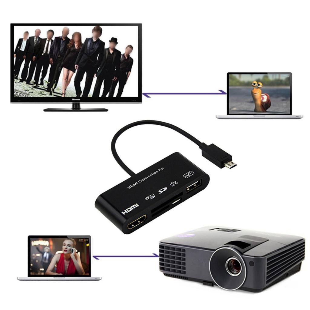 Portable 5in1 Micro USB MHL to HDMI HDTV Adapter USB OTG SD Card ...