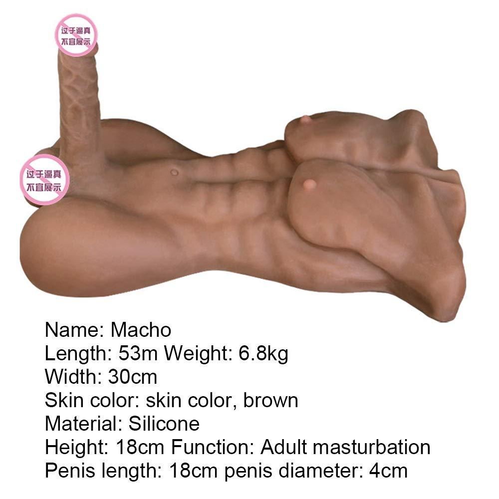 CLQ Dildos Sex Toys Realistic Silicone 3D Torso Doll Women Women Masturbation Orgasm masturbator with Flexible Dildo Penis Cock with Sucker Anal Sex Toys Clitoral Anal Sex Toys (Color : Brown)