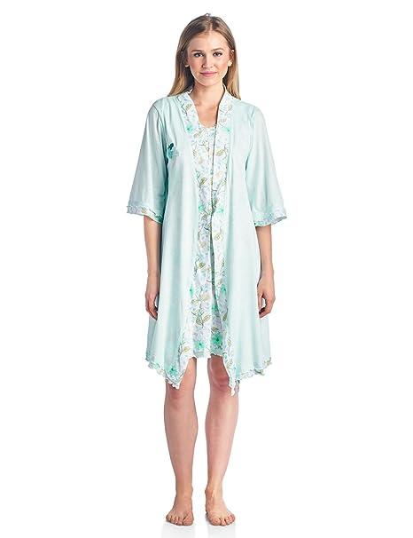 Casual noches para pijamas de mujer 2 piezas camisón y bata Set - Verde -