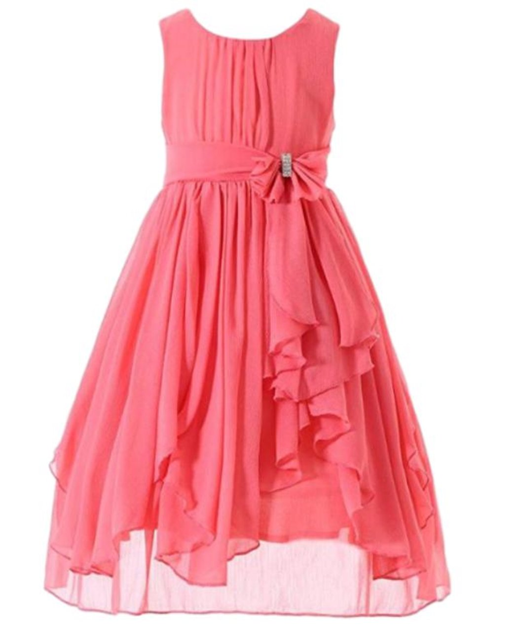 Glasshie Girl's Kids Bow Ruffled Chiffon Round Neck Sleeveless Knee Length Dress(8, Coral)