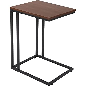 FIVEGIVEN Accent Sofa Couch Side Table Slide Under For Living Room Wood And  Metal Espresso