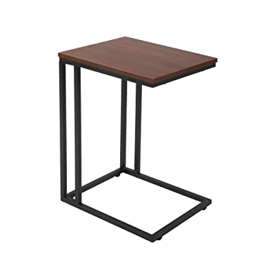 FIVEGIVEN Accent Sofa Couch Side Table Slide Under for Living Room Wood and Metal Espresso 22.4 Inch