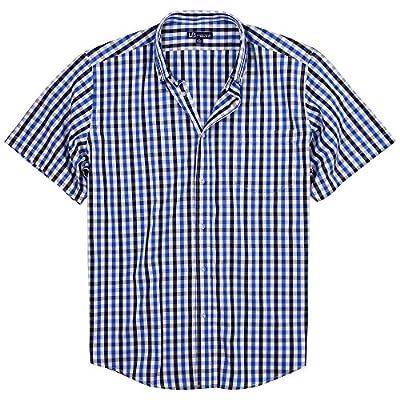 UB Apparel & Gear Men's 100% Cotton Plaid Short Sleeve Shirt