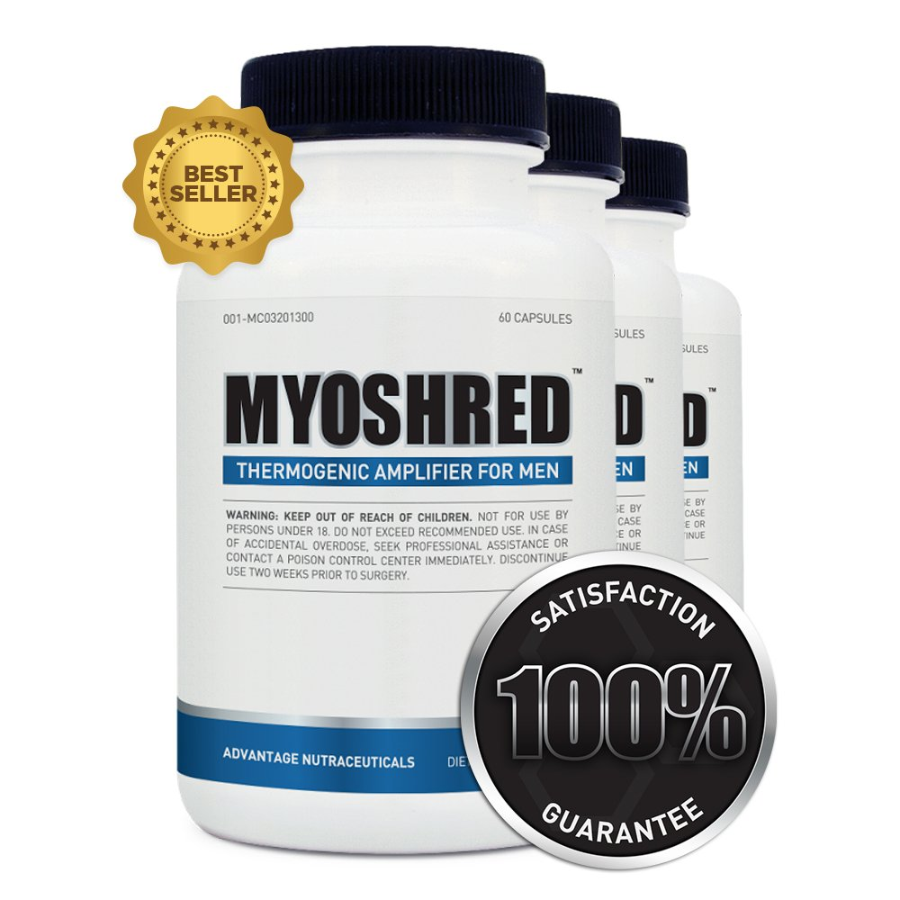 Myoshred (3 Pack)- Top Diet Pill and Thermogenic for Men - Diet and Muscles Supplement