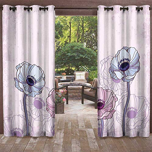 UNOSEKS LANZON Outdoor Bug Curtain for Patio, Anemone Flower Retro Grunge Display with Graphic Anemone Field Buds Leaves Darkening Curtains (Light Pink Lilac Baby Blue, 72 x 84 Inches)