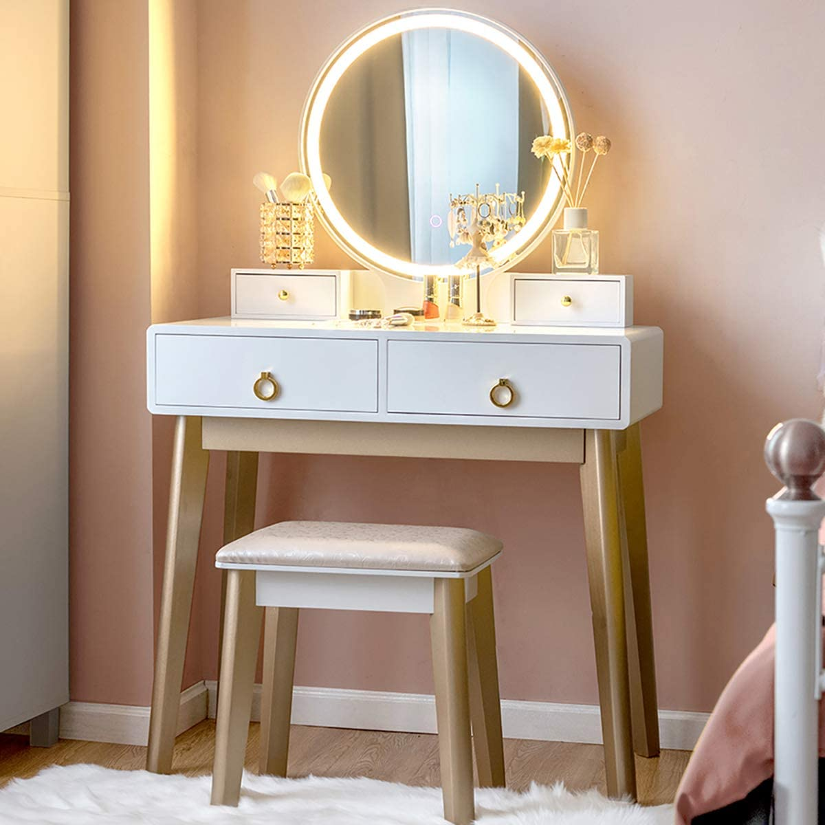 Dressing Table with 4 Sliding Drawers 3 Color Lighting Modes Modern Bedroom Makeup Table and Cushioned Stool Set for Women Girls CHARMAID Vanity Set with Touch Screen Dimming Mirror Black