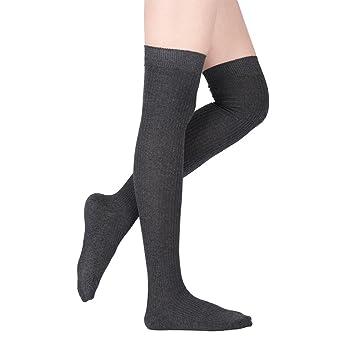 Calcetines de Mujer - Delaman Calcetines Largos de Algodón y Muslo, Lana, Rayas Finas