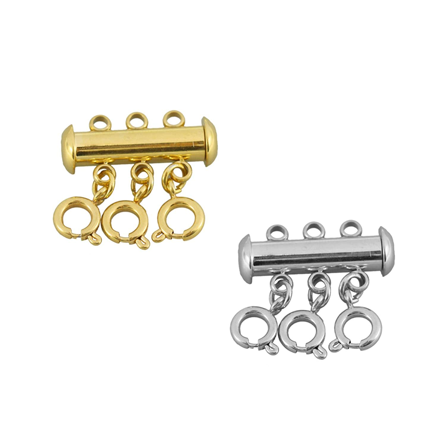 2 Pcs 316 Stainless Steel Necklace Spacer Layering Clasps Multistrand Clasp for Layered Bracelet Necklace Jewelry Crafts 2/&3, Rose Gold