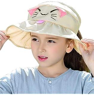 KRATARC Summer Sun Hat Women Girls Visor Fishing Cap Floppy Beach Sun Hat Cycling with Ponytail Hole Bowknot Khaki