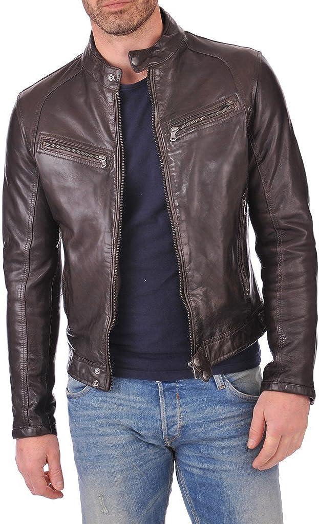 BENJER Mens Leather Jacket Lambskin Bomber Motorcycle Biker