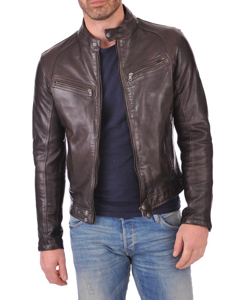 Leather Market Men's 100% Lambskin Leather Bomber Biker Jacket outfit Medium Brown