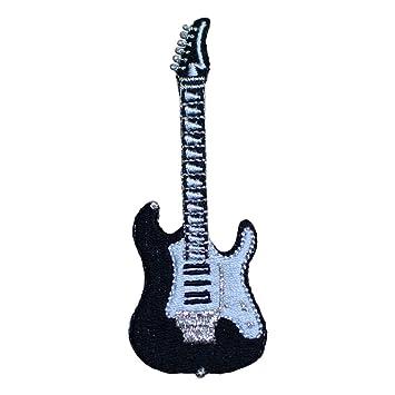 50s blanco y negro guitarra eléctrica Applique parche hierro (sobre): Amazon.es: Juguetes y juegos