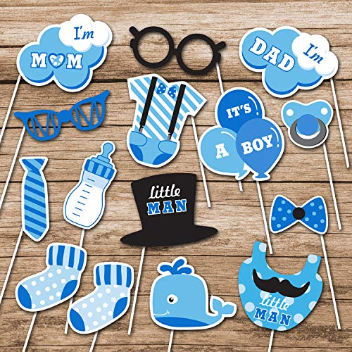 IT'S A BOY Baby shower Photo Booth Props Blue Theme Baby Shower Prefect for Lovely Baby , Baby shower Party Supplies Include 15Pcs by Lucky -
