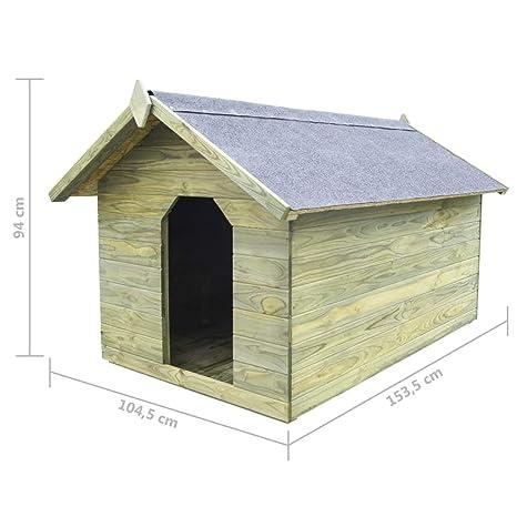 vidaXL Casa Perros 104,5x153,5x94 cm Verde Jardín Patio Madera Pino Mascota: Amazon.es: Productos para mascotas