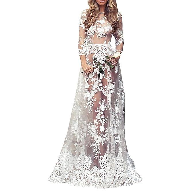 StageOnline Vestido de Encaje Mujer Blanco Transparente Elegantes Manga Larga Mujer Noche Fiesta Largo