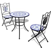 vidaXL Bistro Table 60cm Mosaic with 2 Chairs Blue and White Garden Furniture