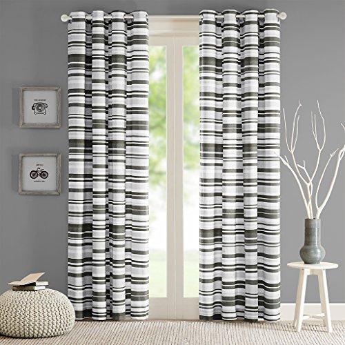 Intelligent Design ID40-565 Sadie Cotton Stripe Printed Curtain 50x63 Grey, 50 x 63, ()