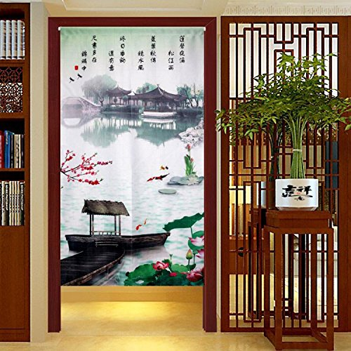 Chinese Traditional Ink Landscape Plum Trees Washpainting Door Curtain Noren Bedroom Doorway Curtain (# 3) by LifEast