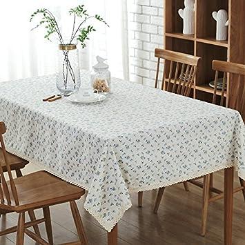 Vlimg Tischdecken Baumwolle Leinen Gartentisch Tischdecke Blau