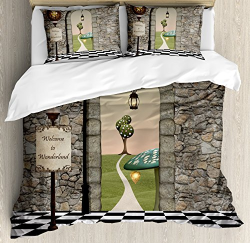 Ambesonne Alice in Wonderland Duvet Cover Set Queen Size, Welcome Wonderland Black and White Floor Tree Landscape Mushroom Lantern, Decorative 3 Piece Bedding Set with 2 Pillow Shams, Multi