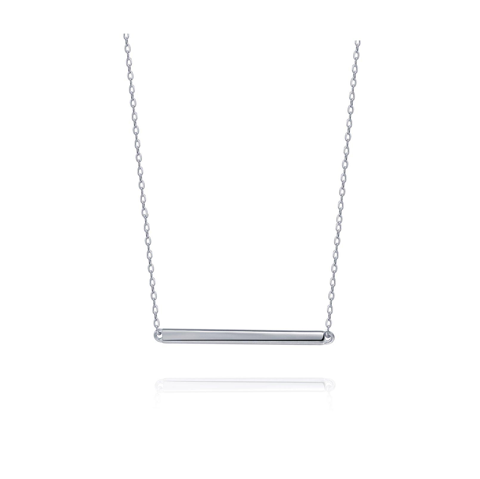 S.Leaf Bar Necklace Sterling Silver Minimalism Line Necklace Horizontal Bar Necklace (Necklace-White Gold)