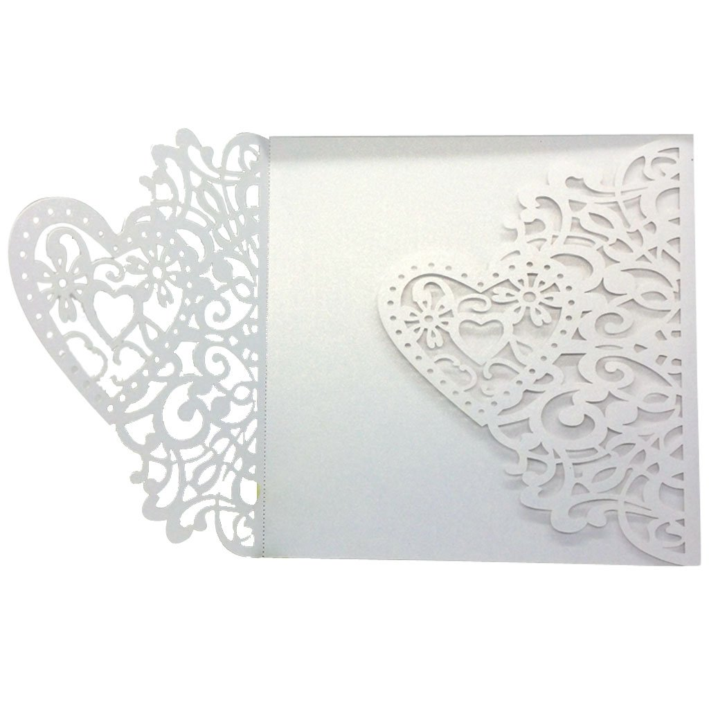 10pcs Hollow Out Wedding Invitations Heart Shaped Blank Card Envolopes White Generic STK0156002777