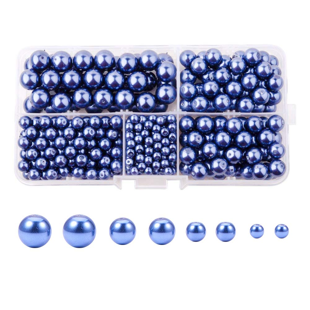 PandaHall Elite About 430 Pcs Tiny Satin Luster Glass Pearl Bead Round Loose Spacer Beads 4mm 6mm 8mm 10mm for Jewelry Making Blue