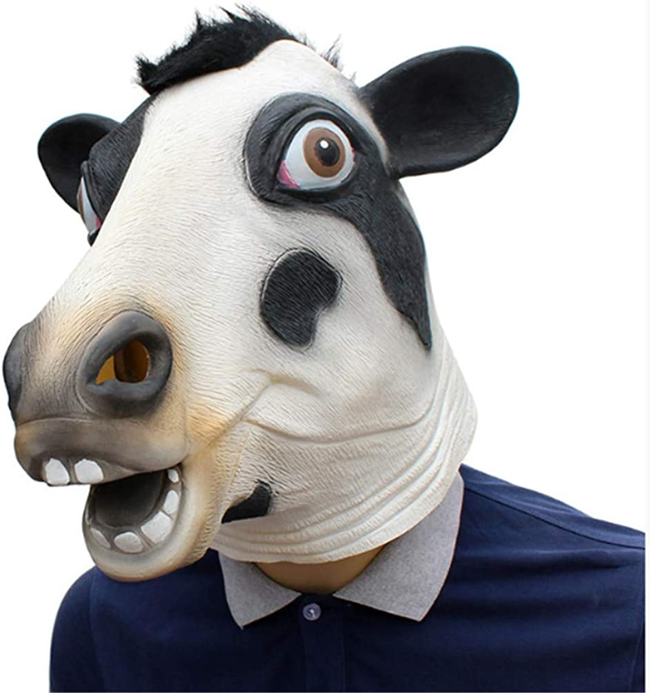 RRSHUN New Halloween Mask Festival Party Supplies Animal Cow Mask Head Cover Latex Mask