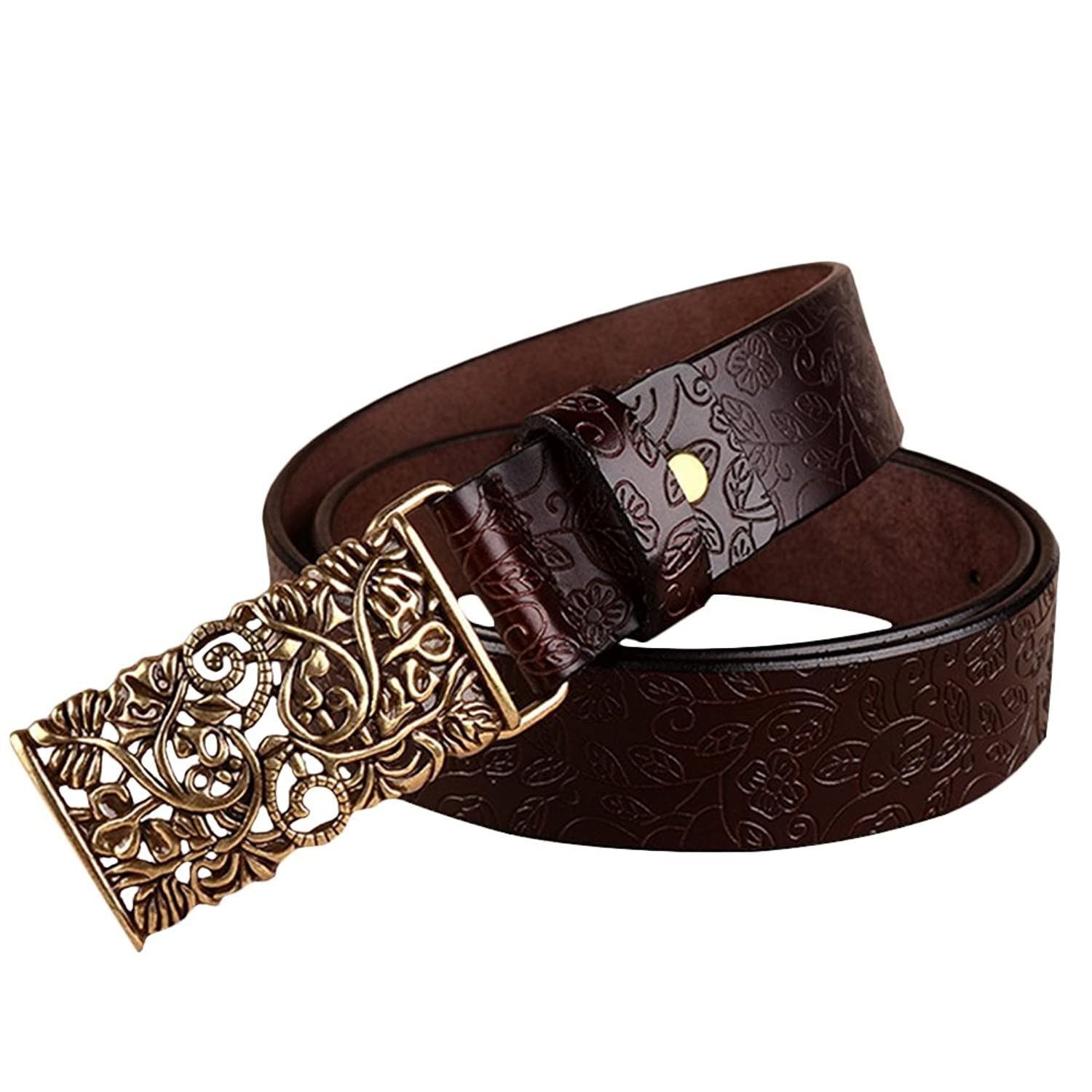 Fashion Women PU Leather Belts Vintage Belt Metal Carved Buckle Belts