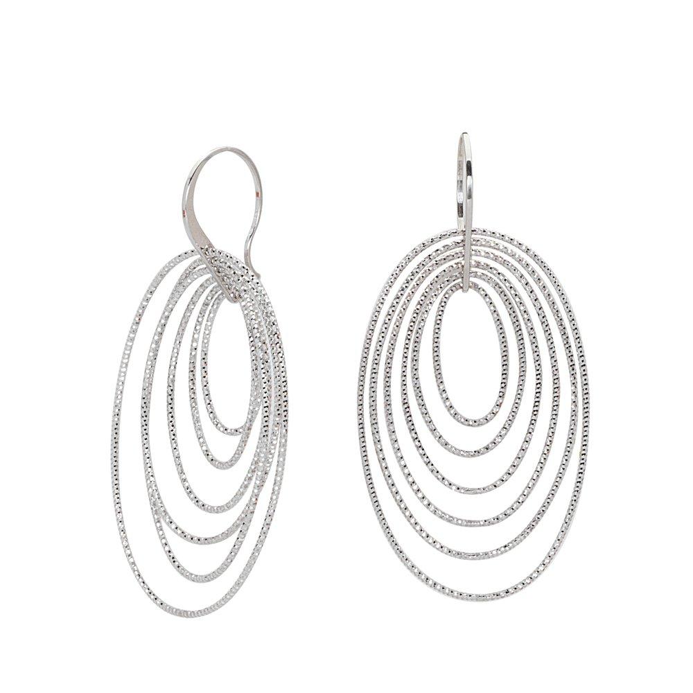 Hoop Earrings Ss 20.3M Fancy Dangle W// 6 D//C Ovals