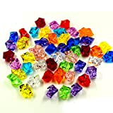 100 Pcs Mixed Color Acrylic Clear Crystal Colored Ice Rock Cubes, Vase Filler or Table Decorating Idea