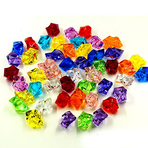 200 Pcs Mixed Color Acrylic Clear Crystal Colored Ice Rock Cubes, Vase Filler or Table Decorating Idea