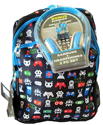 """Price comparison product image FAB Starpoint Gamer Video Game Print 17"""" Backpack with Earbuds Headphones"""