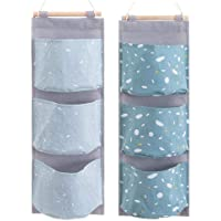 2 Packs Over The Door Organizer, Waterproof Wall Hanging Storage Bag with 3 Pockets for Bedroom & Nursery (Blue)