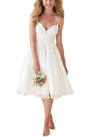 Veilace Women\'s Backless Spaghetti Straps Short Beach Wedding Dress ...