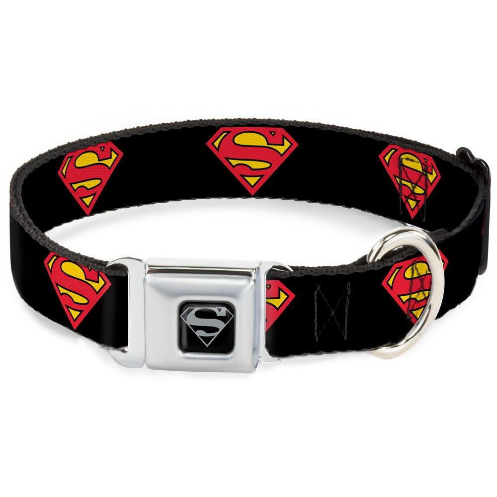 Buckle-Down Seatbelt Buckle Dog Collar Superman Shield Black 1  Wide Fits 15-26  Neck Large