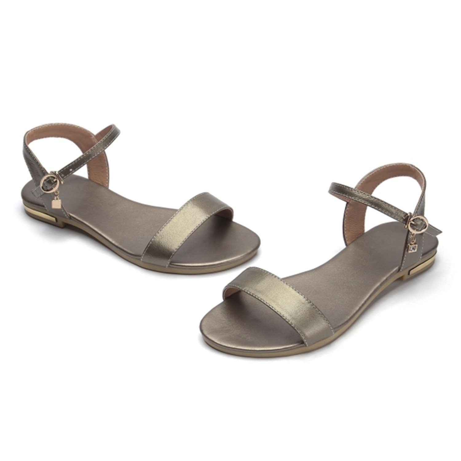 Women Sandals Genuine Leather Soft Rubber Sole Basic Buckle Strap Size 34-43 Women's Summer Shoes SS168 B07CVQFP98 10 B(M) US|Champagne
