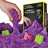 Juego de arena geográfico nacional - 2 libras de arena con moldes de castillo y bandeja (púrpura) - Una actividad sensorial cinética